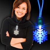 Blue Snowflake LED and Light-Up Necklace