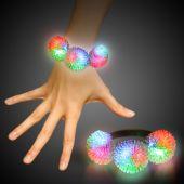 LED Porcupine Bracelet with Multicolor Pom Poms