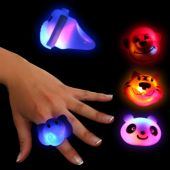 LED Wild Animal Jelly Rings-24 Pack