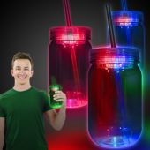 LED Mason Jar with Straw-20oz