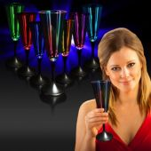 LED Champagne Glass-Black Stem-7oz