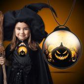 Scary Halloween Pumpkin Backlit Badge