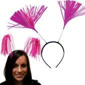 Pink Tinsel Headboppers - 12 Pack