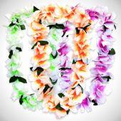 Neon Silk Flower Leis-12 Pack