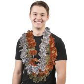 Animal Print Silk Flower Leis - 12 Pack