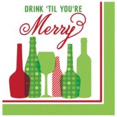 Drink 'Til You're Merry Holiday Beverage Napkins - 16 Per Unit