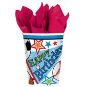 Sports Birthday Party Cups – 8 Pack