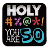 """50 Holy Bleep 7"""" Square Plates"""