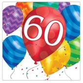 Balloon Blast 60th Birthday Lunch Napkins - 16 Per Unit