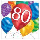 Balloon Blast 80th Birthday Lunch Napkins - 16 Per Unit