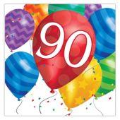 Balloon Blast 90th Birthday Lunch Napkins - 16 Per Unit