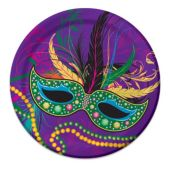 "Mardi Gras Mask Plates - 7"" - 8 Per Unit"