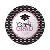 """Congrats Grad Pink Plates - 7"""" - 18 Per Unit"""