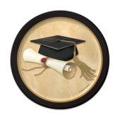 Golden Graduate Plates – 7 Inch, 8 Pack