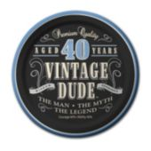 "Vintage Dude 40 Years 7"" Paper Plates –  8 Per Unit"