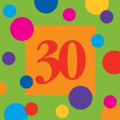 30 Birthday Stripes Lunch Napkins-16 Pack
