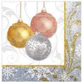 Holiday Ornaments Lunch Napkins – 16 Per Unit