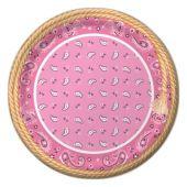 "Pink Bandana Plates -8 3/4"" - 8 Per Unit"