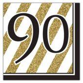 Black & Gold 90th Lunch Napkins - 16 Per Unit