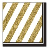 Black & Gold Lunch Napkins - 16 Per Unit