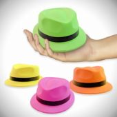 Assorted Color Neon Mini Plastic Fedoras - 12 Pack