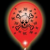 Skull & Crossbones White Balloons Red Lights - 10 Pack