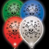 Skull & Crossbones White Balloons Assorted Lights - 10 Pack