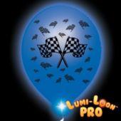 Checkered Flag White Balloons Blue Lights - 10 Pack