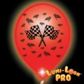 Checkered Flag White Balloons Red Lights - 10 Pack