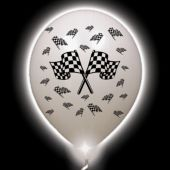 Checkered Flag White Balloons White Lights - 10 Pack