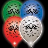 Checkered Flag White Balloons Assorted Lights  - 10 Pack