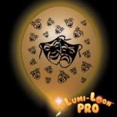 Mardi Gras Mask Gold Balloons White Lights - 10 Pack