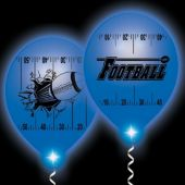 Football Yardline White Balloons Blue Lights - 10 Pack