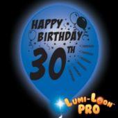 30th Birthday White Balloons Blue Lights - 10 Pack