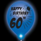 60th Birthday White Balloons Blue Lights - 10 Pack