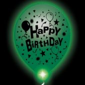 Birthday Lumi-Loons White Balloons Green Lights -10 Pack
