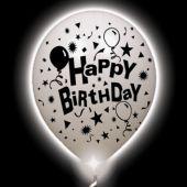 Birthday Lumi-Loons White Balloons White Lights - 10 Pack