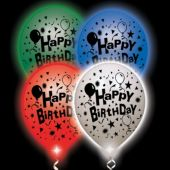 Birthday Lumi-Loons White Balloons Assorted Colored Lights - 10 Pack