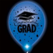 Congrats Grad Blue Lumi-Loons Balloon Lights - 10 Pack
