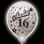 Sweet 16 Lumi-Loons White Balloons White Lights - 10 Pack