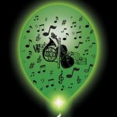 Musical Lumi-Loons White Balloons Green Lights - 10 Pack