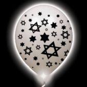 Jewish Star Lumi-Loons White Balloons White Lights - 10 Pack