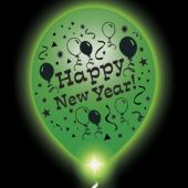 New Year Lumi-Loons White Balloons Green Lights - 10 Pack