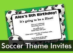 Personalized Soccer Theme Invitations